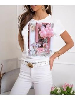 Camiseta bicicleta globos rosa
