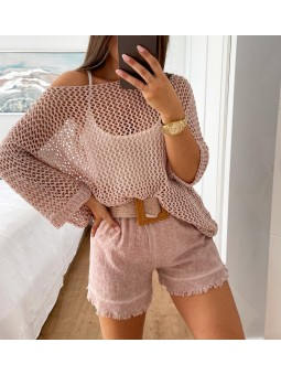 Pantalón corto lino rosa...