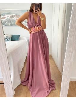 Vestido gasa rosa empolvado...