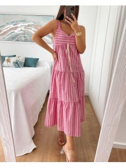 Vestido midi rosa chicle...