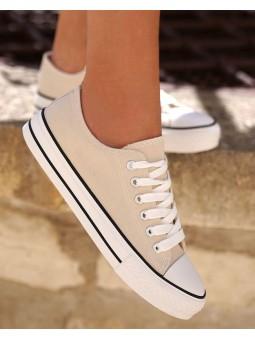 Zapatillas beige loneta...