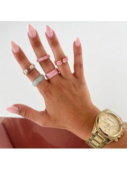 Anillos tonos rosa frutitas...