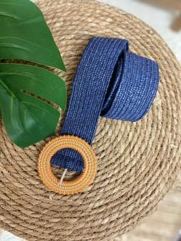 Cinturón rafia azul marino...