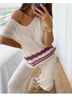 Suéter punto fino blanco...