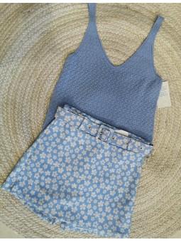 Falda pantalón celeste mini...