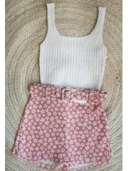 Falda pantalón rosa mini...