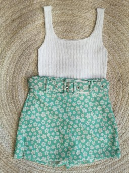 Falda pantalón verde mini...