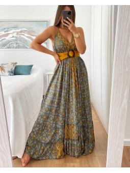 Vestido largo India mostaza...
