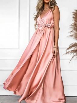 Vestido rosa satén Leire (M33)