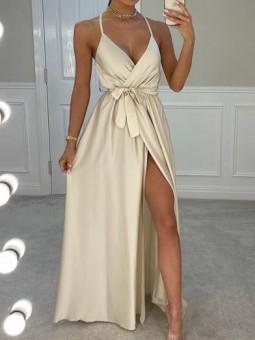 Vestido beige satén Leire...