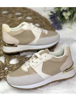 Zapatillas combinadas beige...