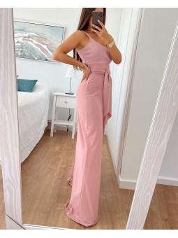 Pantalón ancho rosa lazada...