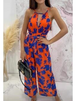 Mono naranja flores azules...