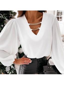 Blusa blanca escote pico...