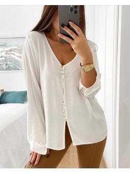 Blusa blanca mini botones...