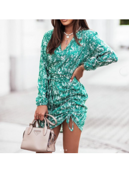 Vestido estampado verde Teresa