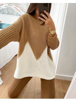 Suéter bicolor camel y...