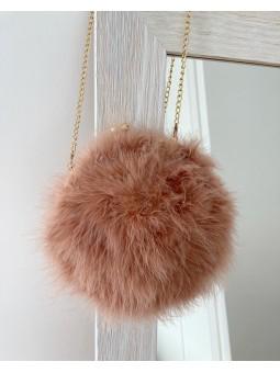 Bolso plumas rosa cadenita V00