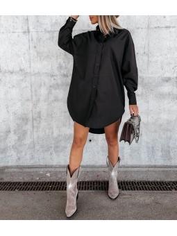 Vestido camisero negro Yolanda