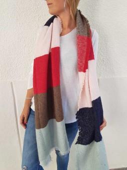Maxi bufanda celeste/marrón/rojo/rosa/marino