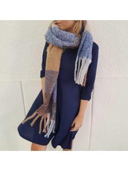 Vestido azúl marino//bufanda multicolor