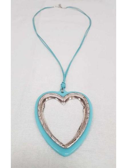 Collar azul corazón