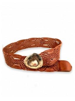 Cinturon trenzado piel hebilla laton