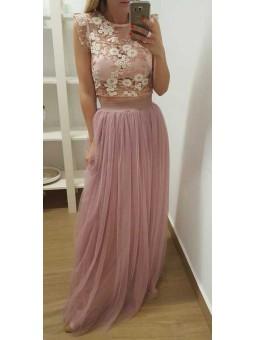 Top flores rosa y marfil // Falda tul varias capas rosa nude