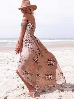 Vestido estampado rosa cuerpo engomado flores