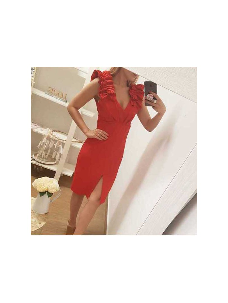 Vestido rojo fruncido en hombros