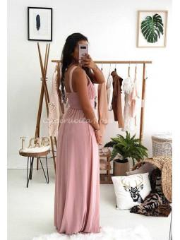 vestido gasa asimetrico rosa cuerpo  plisado