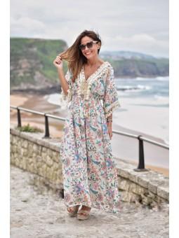 vestido etnico estampado escote pompones cordon