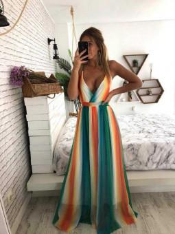 Vestido escote cruzado colores naranja, verde y azul
