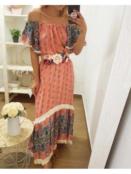 Vestido etnico bicolor salmon // Cinturon flores