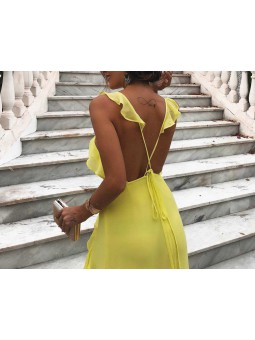 Vestido amarillo volantito espalda