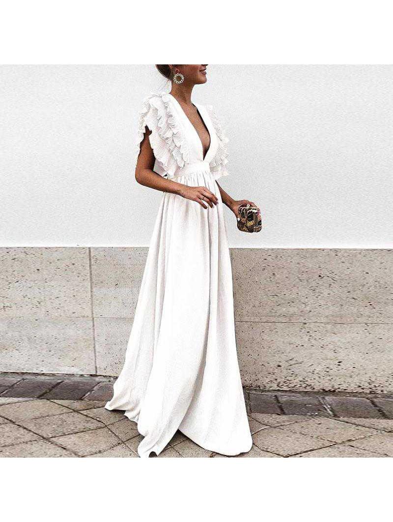 Vestido largo blanco escote pico plisado hombros