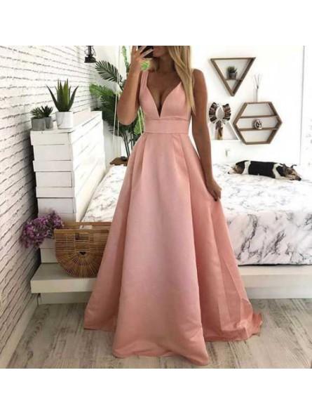 Vestido rosa raso fiesta