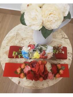 Cinturon elástico rojo flores