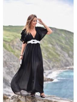 Vestido negro hombros plisado // Cinturón nudo plata  // Pendientes